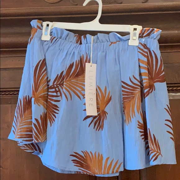 Lumiere Tops - Palm Tree print strapless top